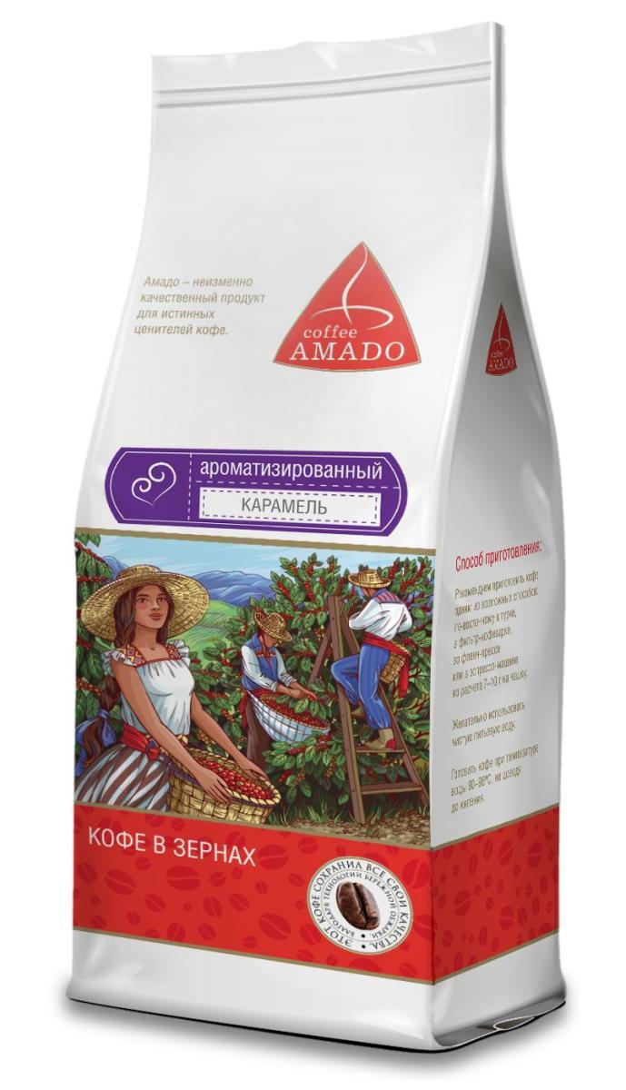 AMADO Карамель кофе в зернах, 200 г0120710AMADO Карамель - сочетание яркого насыщенного вкуса кофе со сладким ароматом карамели. Напиток производится на основе отборных зерен сорта арабика с добавлением натуральных ароматизаторов. Вкус получаемого напитка в полной мере соответствует его названию — он наполнен восхитительными нотами свежей карамели и ванили.