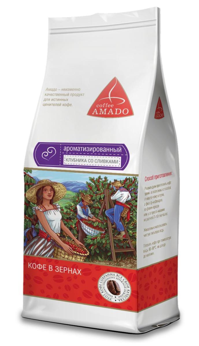 AMADO Клубника со сливками кофе в зернах, 200 г0120710Аромат клубники и сливок отличной дополняет насыщенный вкус кофе Амадо. Этот сорт подарит вам свежесть летнего дня, сочетая в себе крепкий кофе, нежные клубничные нотки и аппетитный привкус свежих сливок.