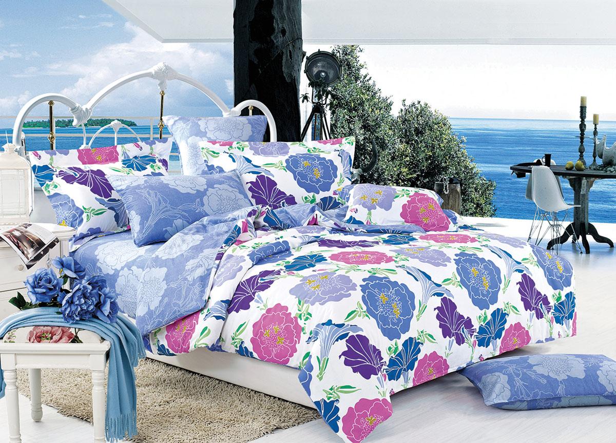 Комплект белья Primavera Classic Голубые цветы, 2-спальный, наволочки 70x70391602Комплект постельного белья Primavera Classic Голубые цветы является экологически безопасным для всей семьи, так как выполнен из высококачественного сатина (100% хлопка). Комплект состоит из пододеяльника на молнии, простыни и двух наволочек. Постельное белье оформлено ярким рисунком цветов и имеет изысканный внешний вид. Сатин - производится из высших сортов хлопка, а своим блеском и легкостью напоминает шелк. Постельное белье из сатина превращает жаркие летние ночи в прохладные и освежающие, а холодные зимние - в теплые и согревающие. Приобретая комплект постельного белья Primavera Classic Голубые цветы, вы можете быть уверенны в том, что покупка доставит вам и вашим близким удовольствие и подарит максимальный комфорт.