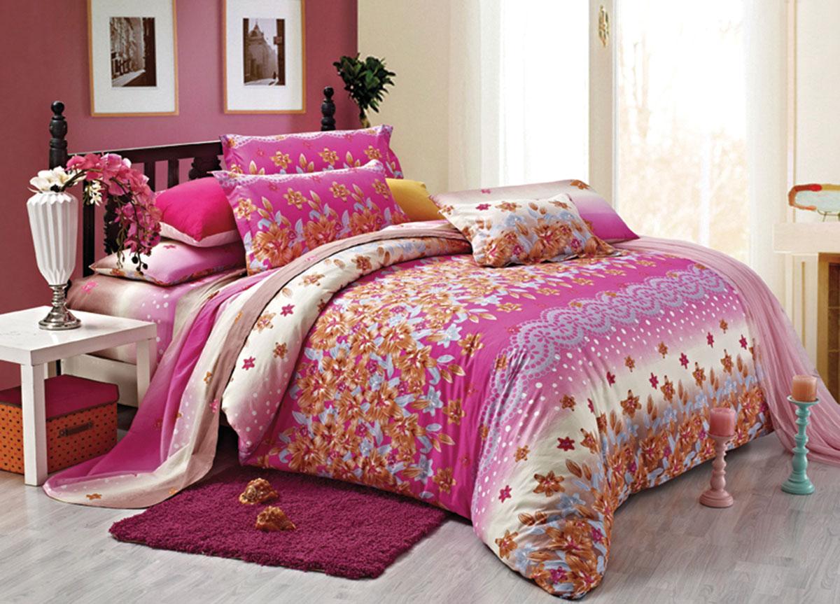 Комплект белья Primavera Classic. Рассвет, 2-спальный, наволочки 70x70, цвет: розовый391602Наволочки с декоративным кантом особенно подойдут, если вы предпочитаете класть подушки поверх покрывала. Кайма шириной 5-10см с трех или четырех сторон делает подушки визуально более объемными, смотрятся они очень аккуратно, даже парадно. Еще такие наволочки называют оксфордскими или наволочками «с ушками».Сатин – прочная и плотная ткань с диагональным переплетением нитей. Хлопковый сатин по мягкости и гладкости уступает атласу, зато не будет соскальзывать с кровати. Сатиновое постельное белье легко переносит стирку в горячей воде, не выцветает. Прослужит комплект из обычного сатина меньше, чем из сатина повышенной плотности, но дольше белья из любой другой хлопковой ткани. Сатин приятен на ощупь, под ним комфортно спать летом и зимой.Производство «Примавера» находится в Китае, что позволяет сократить расходы на доставку хлопка. Поэтому цены на это постельное белье более чем скромные и это не сказывается на качестве. Сатин очень гладкий, мягкий, но при этом, невероятно прочный. Он прослужит вам действительно долго и не полиняет. Для нанесения рисунков используют только безопасные для окружающей среды и здоровья человека красители.