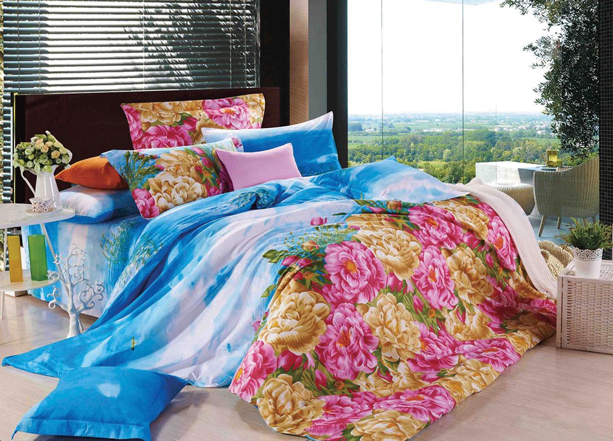 Комплект белья Primavera Classic Цветы в облаках, 2-спальный, наволочки 70x70, цвет: голубой, белый, розовыйCA-3505Комплект постельного белья Primavera Classic Цветы в облаках является экологически безопасным для всей семьи, так как выполнен из высококачественного сатина (100% хлопка). Комплект состоит из пододеяльника на молнии, простыни и двух наволочек. Постельное белье оформлено ярким рисунком цветов и имеет изысканный внешний вид. Сатин - производится из высших сортов хлопка, а своим блеском и легкостью напоминает шелк. Постельное белье из сатина превращает жаркие летние ночи в прохладные и освежающие, а холодные зимние - в теплые и согревающие. Приобретая комплект постельного белья Primavera Classic Цветы в облаках, вы можете быть уверенны в том, что покупка доставит вам и вашим близким удовольствие и подарит максимальный комфорт.