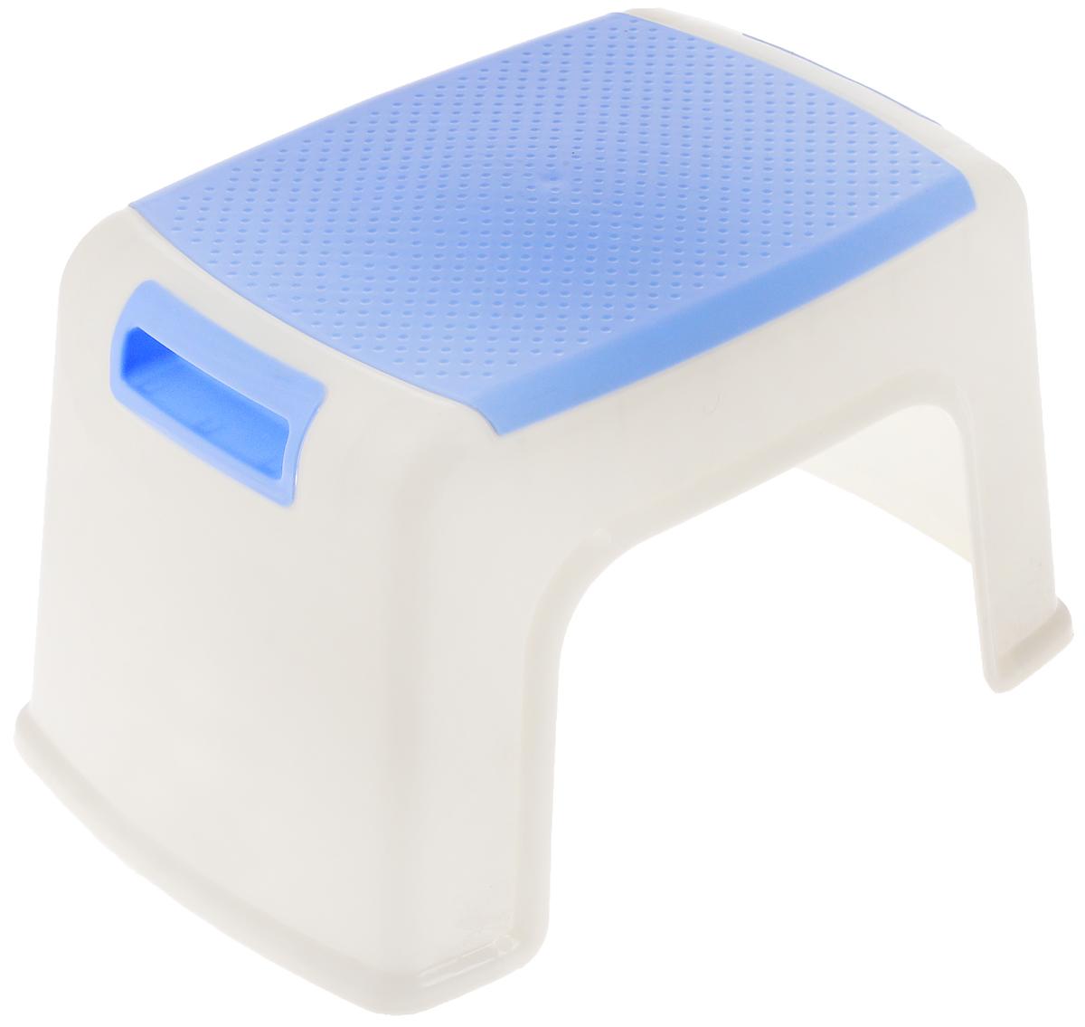 Табурет Изумруд, цвет: белый, голубой, высота 21 смFS-91909Табурет Изумруд выполнен из прочного высококачественного пластика. Надежная опора ножек предотвращает опрокидывание табурета. Сиденье изделия оформлено рельефными кружочками. Такой табурет обязательно пригодится и дома, и на даче. Для удобства переноски табурет снабжен двумя удобными ручками.