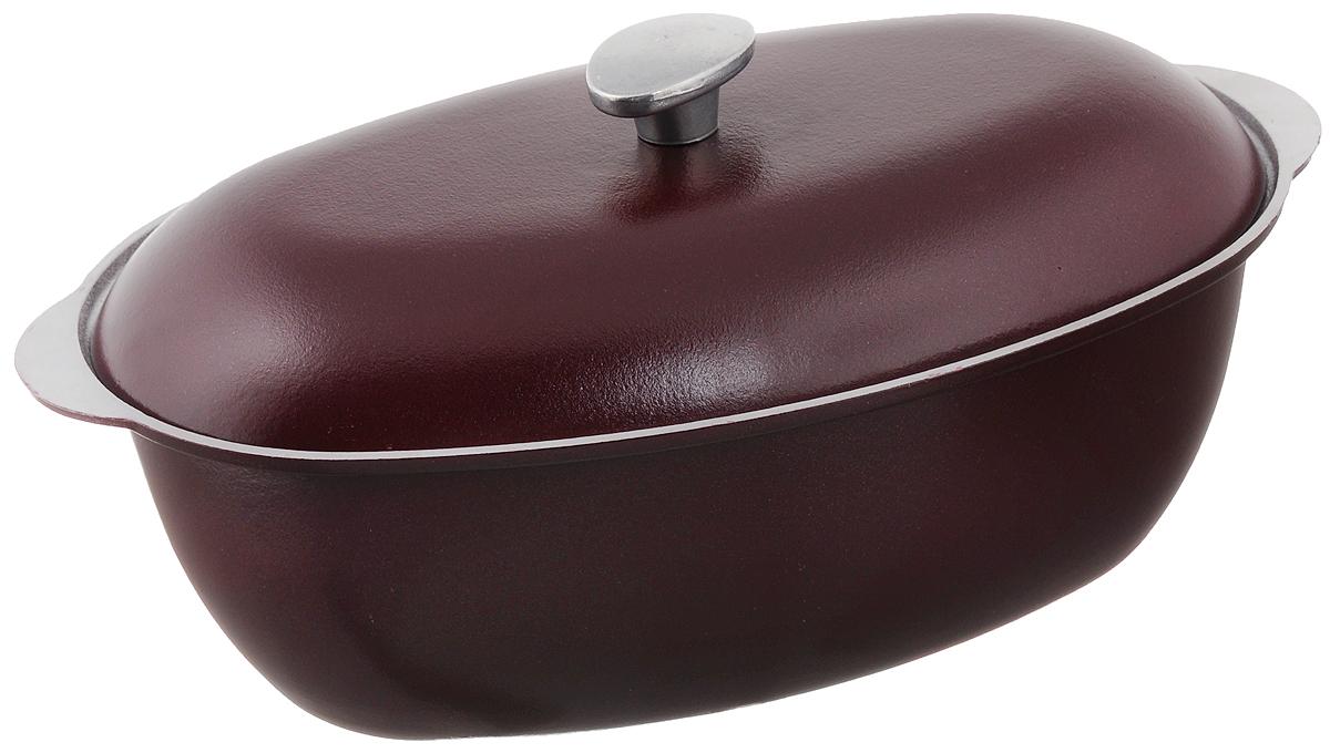 Гусятница Биол с крышкой, цвет: бордовый, 4 лГ0400ДГусятница Биол, выполненная из высококачественного литого алюминия, оснащена крышкой. Благодаря особой конструкции корпуса в гусятнице замечательно готовить томленые блюда. Она равномерно прогревается и долго удерживает тепло. Приготовленное блюдо получается особенно вкусным, а в продуктах сохраняется больше полезных веществ. Гусятница не подвержена деформации, легко моется.Подходит для газовых, электрических и стеклокерамических плит. Не подходит для индукционных плит. Размер гусятницы (по верхнему краю): 37,2 х 23,2 см.Высота стенки гусятницы: 12,2 см. Объем: 4 л.
