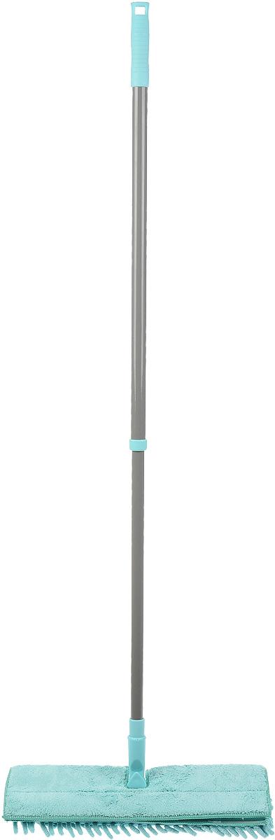Швабра Home Queen Еврокласс, двухсторонняя, с телескопической ручкой, цвет: бирюзовый, серый, длина 72-126 см57981_бирюзовый, серыйШвабра Home Queen Еврокласс, выполненная из стали и полипропилена, идеально подходит для мытья всех типов напольных поверхностей: паркет, ламинат, линолеум, кафельная плитка. Материал насадки - шенилл (разновидность микрофибры) обладает высокой износостойкостью, не царапает поверхность и отлично впитывает влагу. Волокна микрофибры примерно в 100 раз тоньше человеческого волоса, а благодаря специальной технологии производства, каждое волокно расщепляется еще на 12-16 клиновидных нитей. Это дает микрофибре ряд существенных преимуществ перед натуральными волокнами, которые имеют круглое сечение. Благодаря своей структуре, шенилловая насадка отлично моет углы. Телескопический механизм ручки позволяет выбрать необходимую вам длину, а также сэкономить место при хранении. Насадку можно стирать вручную или в стиральной машине с мягким моющим средством без использования кондиционера и отбеливателя.Длина ручки: 72-126 см.Размер насадки: 41 х 12 х 4 см.