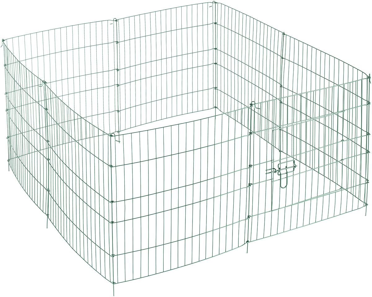 Вольер для животных V.I.Pet, разборный, восьмисекционный, цвет: зеленый, 60 х 45 см0120710Вольер для животных V.I.Pet, выполненный из металла с эмалированным покрытием, состоит из 8 секций, одна из которых снабжена металлической дверцей с запором-задвижкой. Чтобы собрать вольер, нужно вставить штыри, расположенные с боковых сторон секций, в кольца, имеющиеся по бокам. Из панелей можно собрать ограждение для вашего питомца любой формы, используя для этого необходимое количество секций. Секции могут состыковаться друг с другом под любым углом. Вольер предназначен для собак, кроликов и других животных. Подходит для отдыха на природе и ограничения передвижения по участку. В сложенном виде занимает очень мало места, удобен для транспортировки. Комплектация: 8 секций. Размер секции: 60 х 45 см. Расстояние между прутьями: 3,5 см.