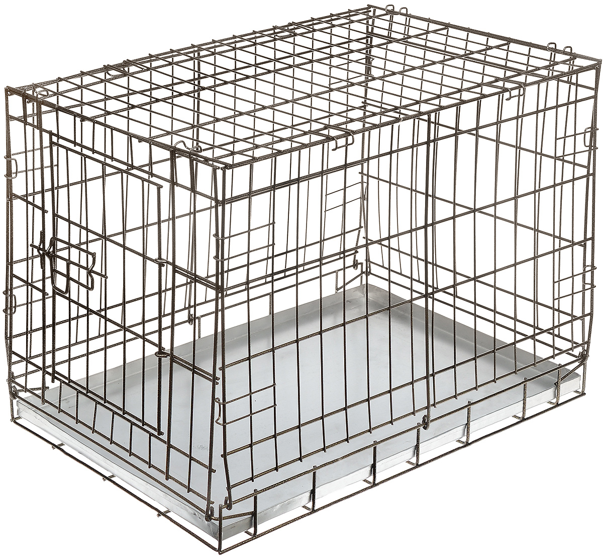 Клетка для собак ЗооМарк, выставочная, 80 х 50 х 55 см, цвет шагрень1524Удобная клетка ЗооМарк предназначена для собак средних пород. Идеально подходит для транспортировки и содержания собак во время проведения выставки. Клетка выполнена из металлической проволоки. Клетка оснащена дверцей, которая надежно закрываются. Прочный алюминиевый поддон не повреждает поверхность, на которой размещен.