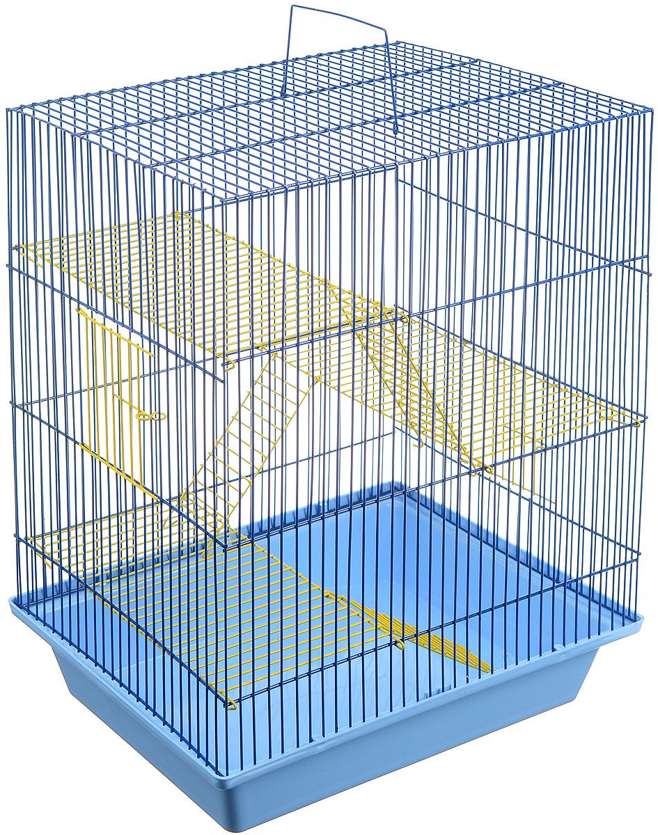 Клетка для грызунов ЗооМарк Гризли, 4-этажная, цвет: голубой поддон, синяя решетка, желтые этажи, 41 х 30 х 50 см. 240ж24872/266820Клетка ЗооМарк Гризли, выполненная из полипропилена и металла, подходит для мелких грызунов. Изделие четырехэтажное. Клетка имеет яркий поддон, удобна в использовании и легко чистится. Сверху имеется ручка для переноски. Такая клетка станет уединенным личным пространством и уютным домиком для маленького грызуна.