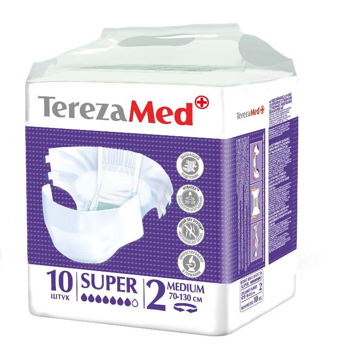 TerezaMed Подгузники для взрослых Super Medium №2 10 шт3400107222/3607347411451Подгузники TerezaMed Extra Medium предназначены для больных недержанием средней тяжести. Подгузник выполнен из мягкого дышащего материала, который пропускает пары влаги. Это позволяет коже пациента под подгузником дышать, а так же снижает риск появления опрелостей. Ядро подгузника состоит из натурального материала - целлюлозы, в которую добавлен суперабсорбент, впитывающий жидкость в больших количествах и обладающий свойством подавлять развитие неприятного запаха. Зеленый распределительный слой эффективно впитывает жидкость и распределяет ее внутри подгузника, тем самым снижая риск появления протечек. Резиночка на спинке более надежно фиксирует подгузник на талии. Крепление подгузника по бокам обеспечивается липучками типа замочек+липучка, что позволяет многократно их приклеивать и отклеивать. Боковые бортики вокруг ног сделаны из гидрофобного материала и надежно запирают жидкость внутри. Специальные запатентованные технологии (Odour Dry system - система нейтрализации запаха; Hybatex - технология впитывания) обеспечивают высокий уровень качества и надежности.Размер талии пациента: средний, 70-130 см. Количество в упаковке: 10 штук. Впитываемость: 2400 мл ±5%