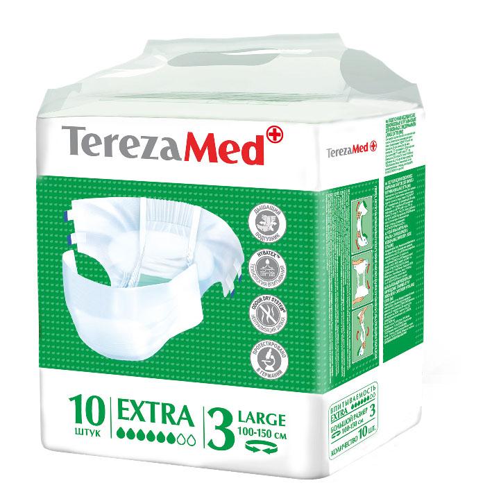 TerezaMed Подгузники для взрослых Normal Extra Large (3) 10 штMFM-3101Подгузники TerezaMed Normal Extra Large предназначены для больных недержанием средней тяжести. Подгузник выполнен из мягкого дышащего материала, который пропускает пары влаги. Это позволяет коже пациента под подгузником дышать, а так же снижает риск появления опрелостей. Ядро подгузника состоит из натурального материала - целлюлозы, в которую добавлен суперабсорбент, впитывающий жидкость в больших количествах и обладающий свойством подавлять развитие неприятного запаха. Зеленый распределительный слой эффективно впитывает жидкость и распределяет ее внутри подгузника, тем самым снижая риск появления протечек. Крепление подгузника обеспечивается надежными липучками типа замочек, что позволяет многократно их приклеивать и отклеивать. Боковые бортики вокруг ног сделаны из гидрофобного материала и надежно запирают жидкость внутри. Размер талии пациента: средний, 70-150см. Количество в упаковке: 10 штук. Впитываемость: 2175 мл ±5%.