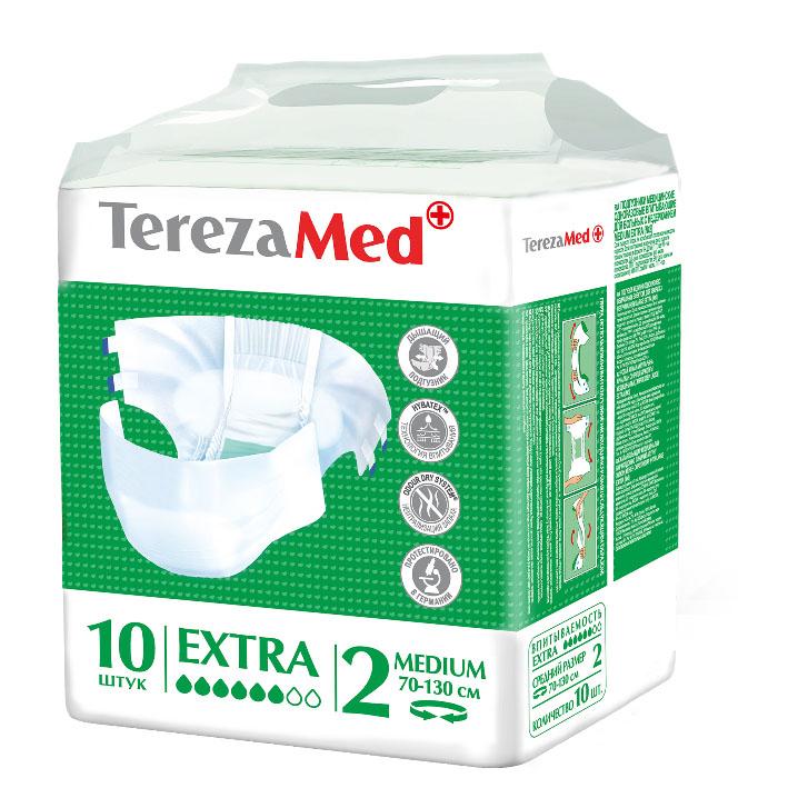 TerezaMed Подгузники для взрослых Extra Medium №2 10 шт5010777139655Подгузники TerezaMed Extra Medium предназначены для больных недержанием средней тяжести. Подгузник выполнен из мягкого дышащего материала, который пропускает пары влаги. Это позволяет коже пациента под подгузником дышать, а так же снижает риск появления опрелостей. Ядро подгузника состоит из натурального материала - целлюлозы, в которую добавлен суперабсорбент, впитывающий жидкость в больших количествах и обладающий свойством подавлять развитие неприятного запаха. Зеленый распределительный слой эффективно впитывает жидкость и распределяет ее внутри подгузника, тем самым снижая риск появления протечек. Резиночка на спинке более надежно фиксирует подгузник на талии. Крепление подгузника по бокам обеспечивается липучками типа замочек+липучка, что позволяет многократно их приклеивать и отклеивать. Боковые бортики вокруг ног сделаны из гидрофобного материала и надежно запирают жидкость внутри. Специальные запатентованные технологии (Odour Dry system - система нейтрализации запаха; Hybatex - технология впитывания) обеспечивают высокий уровень качества и надежности.Размер талии пациента: средний, 70-130 см. Количество в упаковке: 10 штук. Впитываемость: 1850 мл ±5%