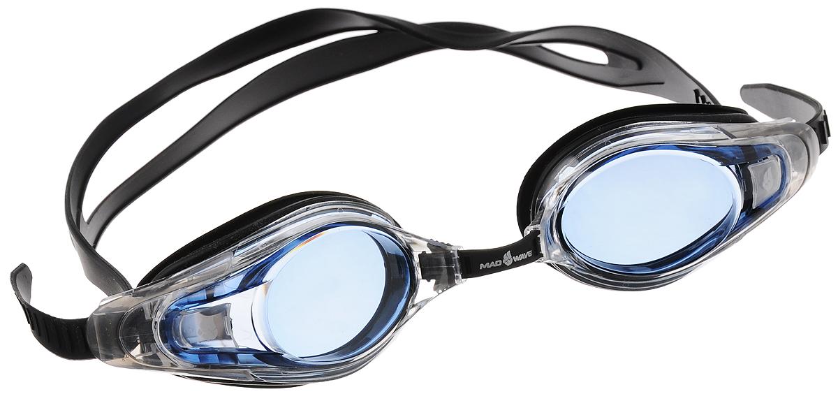 """Очки для плавания с диоптриями MadWave """"Optic Envy Automatic"""", цвет: черный, прозрачный, голубой, -2,0"""
