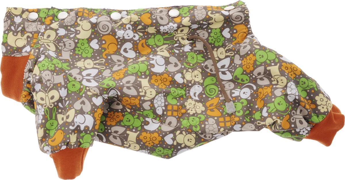 Комбинезон для собак Yoriki Звери, для девочки, цвет: темно-серый, ярко-оранжевый. Размер SDM-140534Комбинезон для собак Yoriki Звери отлично подойдет для прогулок в прохладную погоду осенью или весной. Верх комбинезона выполнен из водоотталкивающего полиэстера. Подкладка изготовлена из мягкой вискозы. Низ рукавов и брючин оснащен широкими стильными манжетами. Застегивается комбинезон на спинке на кнопки и дополнительно на пояснице затягивается шнурком. Благодаря такому комбинезону вашему питомцу будет комфортно наслаждаться прогулкой.