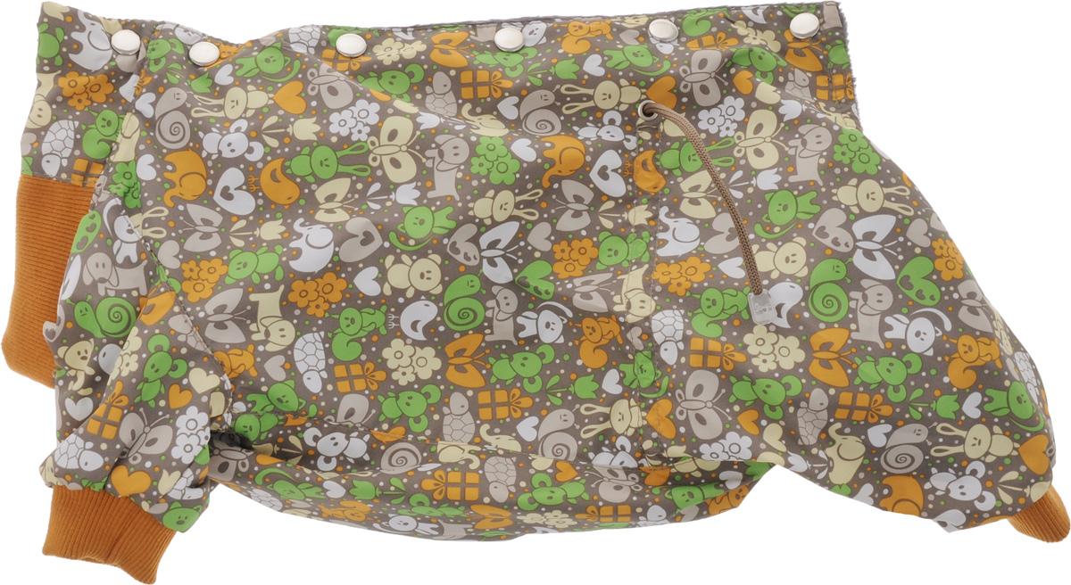 Комбинезон для собак Yoriki Звери, для девочки, цвет: темно-серый, оранжевый. Размер L168-22Комбинезон для собак Yoriki Звери отлично подойдет для прогулок в прохладную погоду осенью или весной. Верх комбинезона выполнен из водоотталкивающего полиэстера. Подкладка изготовлена из мягкой вискозы. Низ рукавов и брючин оснащен широкими стильными манжетами. Застегивается комбинезон на спинке на кнопки и дополнительно на пояснице затягивается шнурком. Благодаря такому комбинезону вашему питомцу будет комфортно наслаждаться прогулкой.