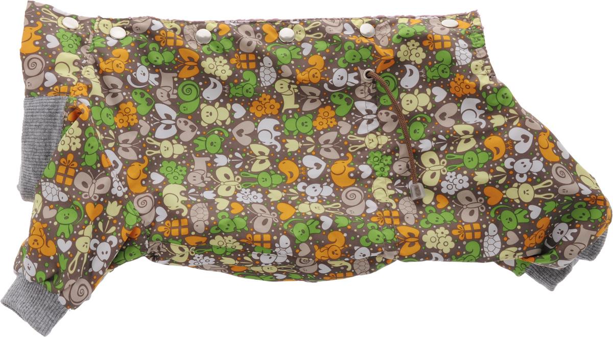 Комбинезон для собак Yoriki Звери, для мальчика, цвет: серый, сиреневый. Размер LDM-160102-4_оранжКомбинезон для собак Yoriki Звери отлично подойдет для прогулок в прохладную погоду осенью или весной. Верх комбинезона выполнен из водоотталкивающего полиэстера. Подкладка изготовлена из мягкой вискозы. Низ рукавов и брючин оснащен широкими стильными манжетами. Застегивается комбинезон на спинке на кнопки и дополнительно на пояснице затягивается шнурком. Благодаря такому комбинезону вашему питомцу будет комфортно наслаждаться прогулкой.