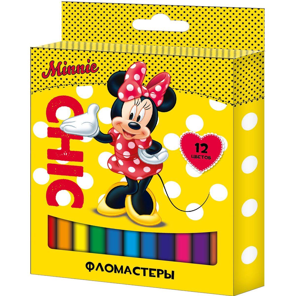 Disney Набор фломастеров Минни 12 цветов150386Набор фломастеров Disney Минни поможет вашему ребенку создать неповторимые яркие картинки, а упаковка с любимой героиней будет долгое время радовать малышку.Фломастеры снабжены вентилируемыми колпачками, безопасными для детей. Изготовлены из материала, обеспечивающего прочность корпуса и препятствующего испарению чернил, благодаря этому фломастеры имеют гарантированно долгий срок службы: корпус не ломается, даже если согнуть фломастер пополам.