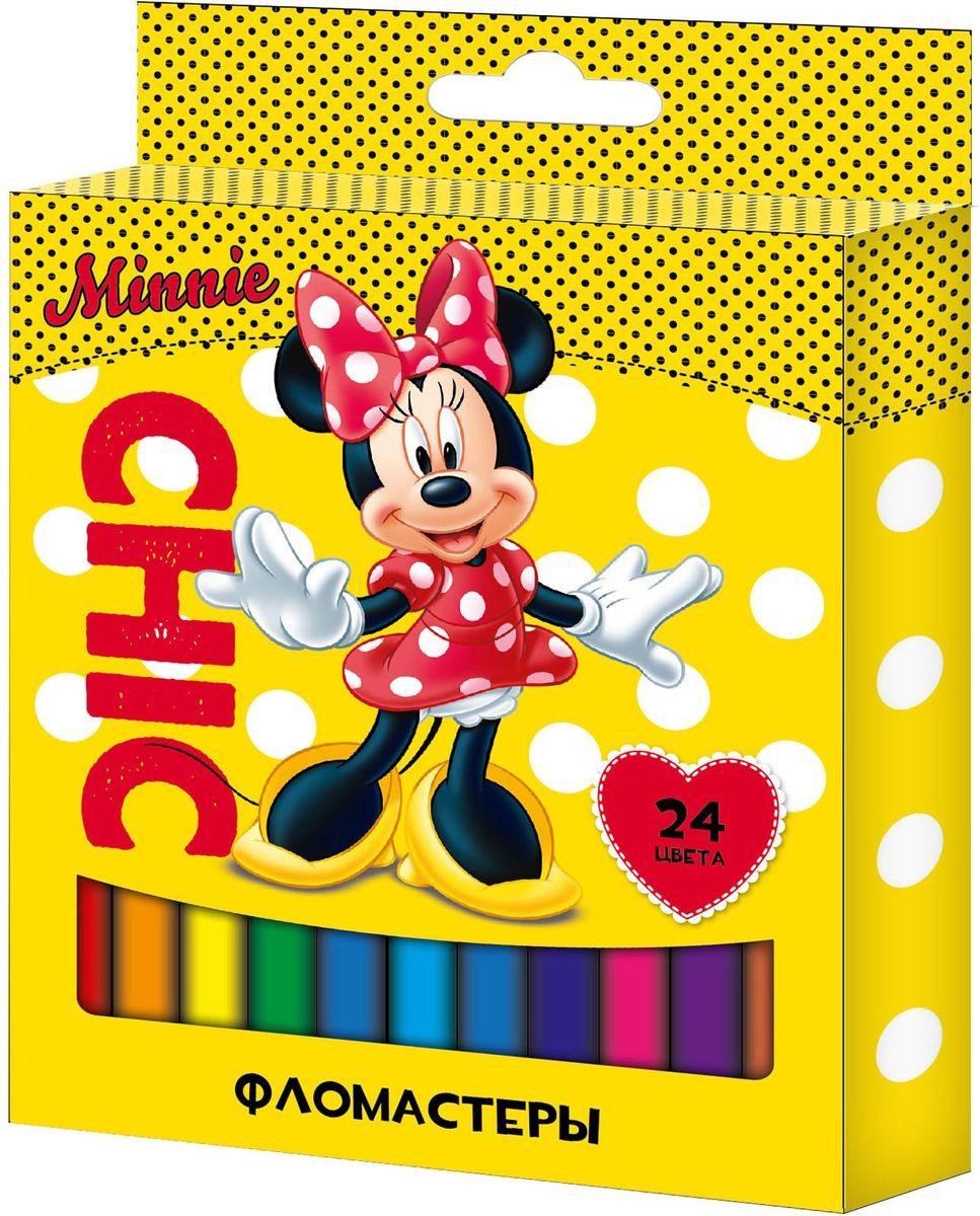 Disney Набор фломастеров Минни 24 цветаFS-36055Набор фломастеров Disney Минни поможет вашему ребенку создать неповторимые яркие картинки, а упаковка с любимой героиней будет долгое время радовать малышку.Фломастеры снабжены вентилируемыми колпачками, безопасными для детей. Изготовлены из материала, обеспечивающего прочность корпуса и препятствующего испарению чернил, благодаря этому фломастеры имеют гарантированно долгий срок службы: корпус не ломается, даже если согнуть фломастер пополам.