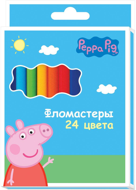 Peppa Pig Набор фломастеров Свинка Пеппа 24 цвета72523WDНабор фломастеров Peppa Pig Свинка Пеппа поможет вашему ребенку создать неповторимые яркие картинки, а упаковка с любимой героиней будет долгое время радовать малышку.Фломастеры снабжены вентилируемыми колпачками, безопасными для детей. Изготовлены из материала, обеспечивающего прочность корпуса и препятствующего испарению чернил, благодаря этому фломастеры имеют гарантированно долгий срок службы.