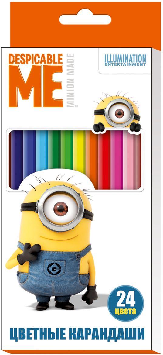 Universal Миньоны Набор цветных карандашей Гадкий Я 24 цвета119097Набор цветных карандашей Universal Миньоны Гадкий Я помогут маленькому художнику создавать красивые картинки, а любимые герои вдохновят малыша на новые интересные идеи.В набор входят 24 цветных мягких и одновременно прочных карандаша, идеально подходящих для рисования, письма и раскрашивания. Яркие линии получаются без сильного нажима. Благодаря высококачественной древесине карандаши легко затачиваются. Прочный грифель не крошится при падении и не ломается при заточке. Состав: древесина, цветной грифель. С таким замечательным набором ваш ребенок будет всегда в хорошем настроении.
