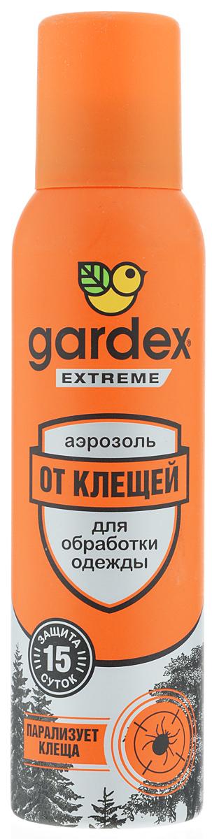 Аэрозоль от клещей Gardex Extreme, 150 млBH-SI0439-WWАэрозоль от клещей Gardex Extreme является эффективным средством, парализующим клещей после соприкосновения с одеждой. Также обеспечивает защиту от блох. Действие активного вещества сохраняется до 15 дней. Аэрозоль наносится на одежду и снаряжение. Перед нанесением средства одежду нужно снять, тщательно обработать, слегка просушить и затем надевать. Не забывайте наносить средство повторно по истечении указанного на упаковке времени - укусы опасны переносимыми клещами заболеваниями. Состав: альфациперметрин 0,2%, перметрин 0,15%, спирт этиловый, бутан, изобутан, пропан, функциональные добавки. Товар сертифицирован.