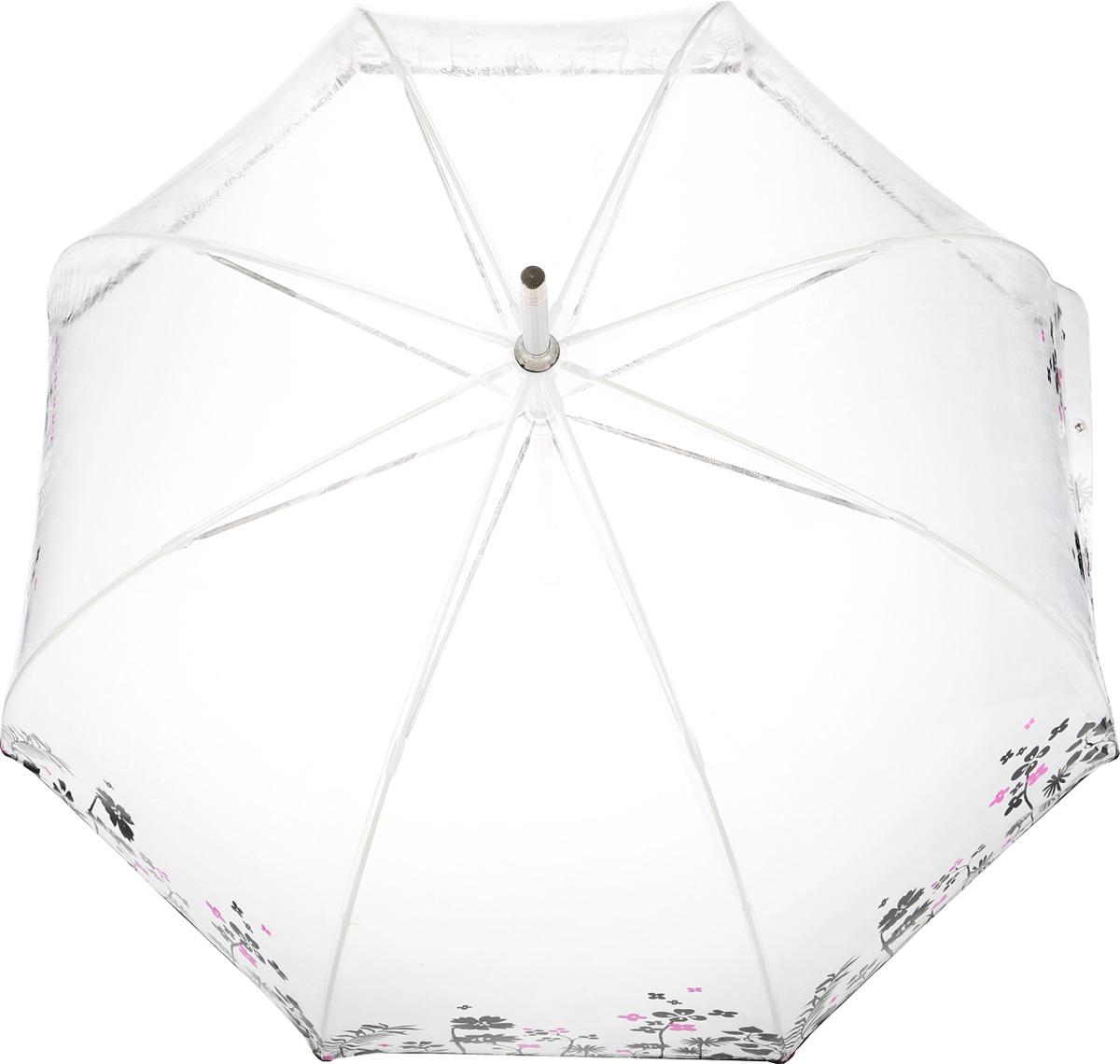 Зонт-трость женский Isotoner, механический, цвет: прозрачный, черный. 09357-3357REM12-CAM-GREENBLACKМеханический зонт-трость Isotonerоформлен оригинальным принтом с изображением цветов.Он оснащен надежным металлическим каркасом с восьмью спицами из алюминия. Купол изготовлен из ПВХ.Модель застегивается с помощью хлястика на кнопку.Эргономичная рукоятка выполнена из пластика.Такой зонт не только надежно защитит вас от дождя, но и станет стильным аксессуаром, который идеально подчеркнет ваш образ.