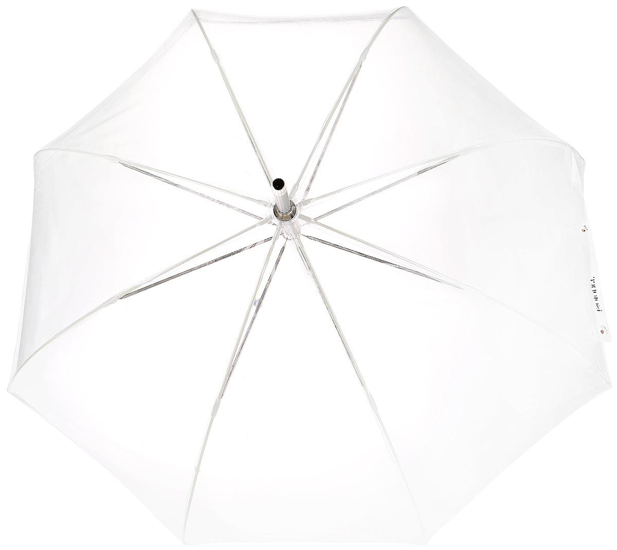 Зонт-трость женский Isotoner, механический, цвет: прозрачный. 09357-9818Серьги с подвескамиМеханический зонт-трость Isotoner оформлен изображением логотипа производителя.Он оснащен надежным металлическим каркасом с восьмью спицами из алюминия. Купол изготовлен из ПВХ.Модель застегивается с помощью хлястика на кнопку.Эргономичная рукоятка выполнена из пластика.Такой зонт не только надежно защитит вас от дождя, но и станет стильным аксессуаром, который идеально подчеркнет ваш образ.