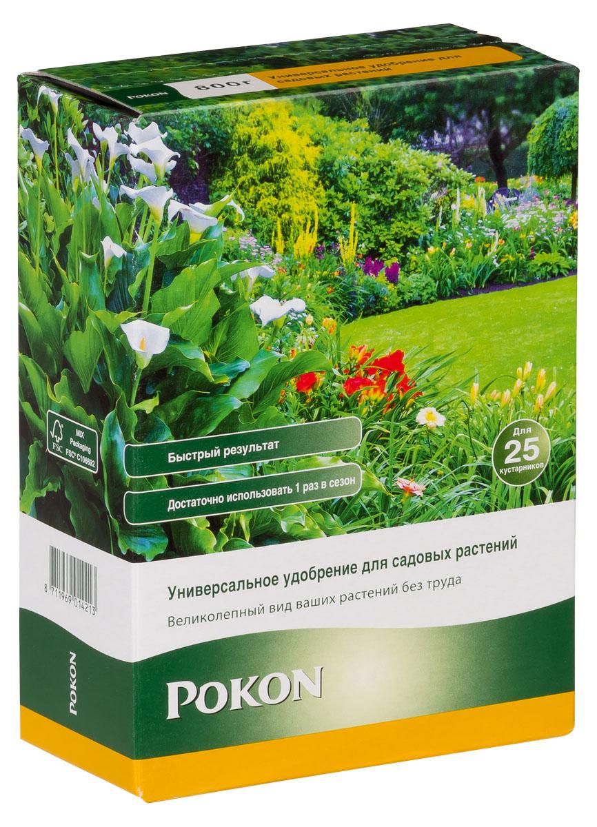 Универсальное удобрение Pokon для садовых растений длительного действия, 800 гC0042416Универсальное удобрение Pokon для садовых растений длительного действия:NPK 17 + 9 + 17 с добавкой 2 MgO + 0,1 Fe и гуминовых экстрактов.Это удобрение обеспечивает садовые растения всем, что нужно для сохранения красоты и здоровья. Необходимые питательные вещества стимулируют рост и цветение. Натуральная добавка из гуминовых экстрактов оптимизирует естественный баланс грунта и улучшает доступ питательных веществ к растениям. Благодаря этому садовые растения становятся более здоровыми и сильными.Инструкция по применению:- Отмерьте нужное количество удобрения мерной ложечкой (30–40 г на 1 взрослое растение в открытом грунте; 10–20 г на 1 горшечное или молодое растение).- Равномерно насыпьте гранулы вокруг растения.- Смешайте гранулы с верхним слоем грунта.- Полейте грунт, и удобрение немедленно начнет действовать.- Не используйте при температуре выше +25 градусов.- Вносите удобрение в период март — август.Состав:Удобрение в гранулах с соотношением NPK 17 + 9 + 17, с добавкой 2 MgO + 0,1 Fe и гуминовых экстрактов.Удобрение соответствует нормам ЕС.