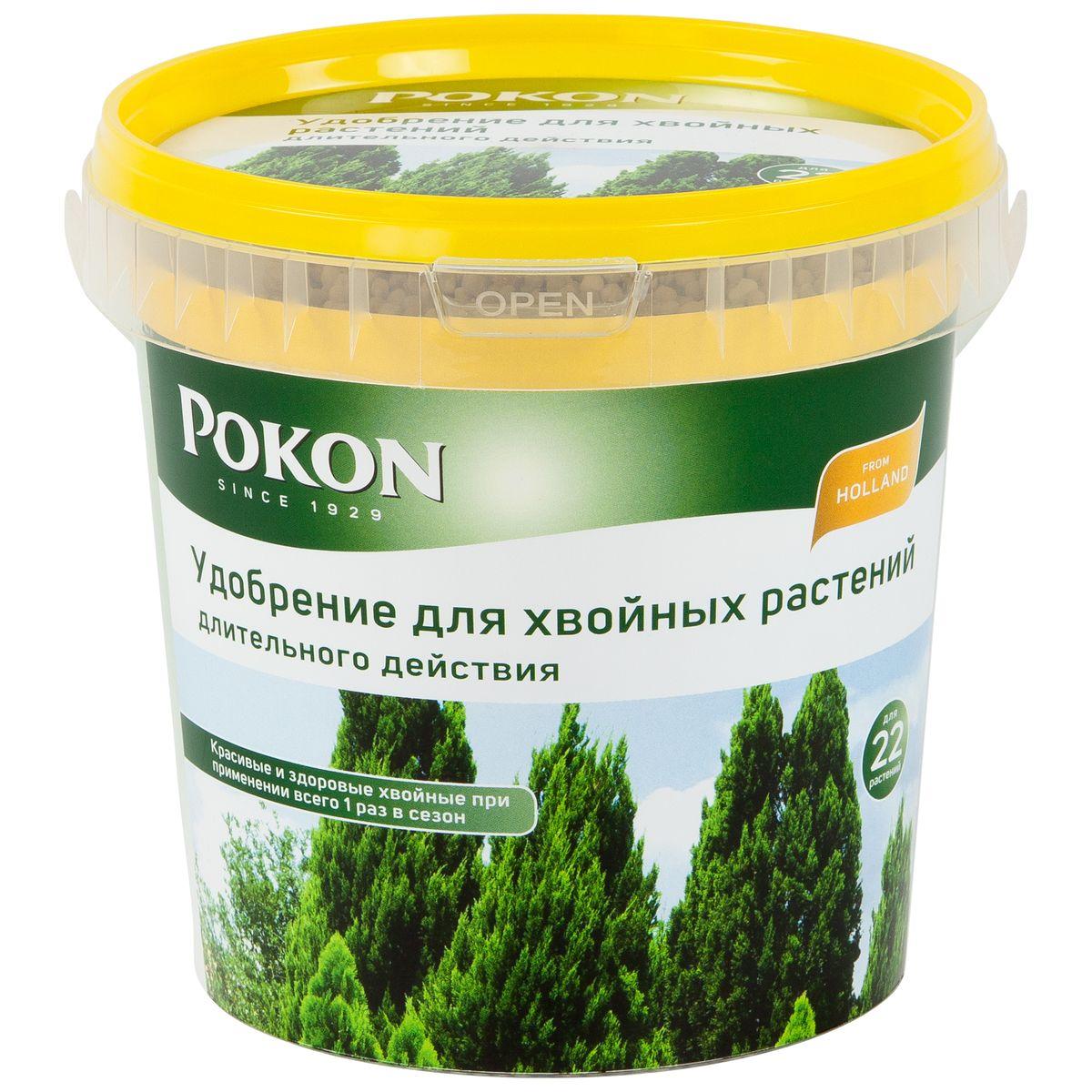 Удобрение Pokon для хвойных длительного действия, 900 г8711969016095Удобрение Pokon для хвойников длительного действия:NPK 18 + 6 + 21 с добавкой 2 MgO + 12 SO3 + 1 Fe.В удобрении Pokon длительного действия содержится все необходимое для хвойных на целое лето. Достаточно внести это удобрение один раз, и затем питательные вещества будут постепенно высвобождаться и проникать в растения в течение сезона под воздействием дождей и солнца. Магниевая добавка придает хвое насыщенную зеленую окраску.Инструкция по применению:- Вносите удобрение 1 раз в год, желательно весной или при посадке растений.- Отмерьте нужное количество гранул (1 мерная ложечка на 1 растение или 1,5 мерной ложечки на 1 кв. м).- Равномерно насыпьте гранулы вокруг ствола.- Смешайте гранулы с верхним слоем грунта.- Полейте грунт, и удобрение немедленно начнет действовать.- Не используйте при температуре выше +25 градусов и под прямыми солнечными лучами.Состав:18% — общее содержание азота (N);4,6% — нитратный азот;2,6% — аммонийный азот;10,8% — мочевинный азот;6% — безводная фосфорная кислота (P2O5), растворимая в нейтральном цитрате аммония и воде;21% — водорастворимый оксид калия (K2O);2% — оксид магния (MgO);11,9% — трехокись серы (SO3);1% — железо (Fe).0,01% — бор (B);0,02% медь (Cu);0,08% марганец (Mn);0,001% молибден (Mo);0,06% — цинк (Zn).Удобрение соответствует нормам ЕС.