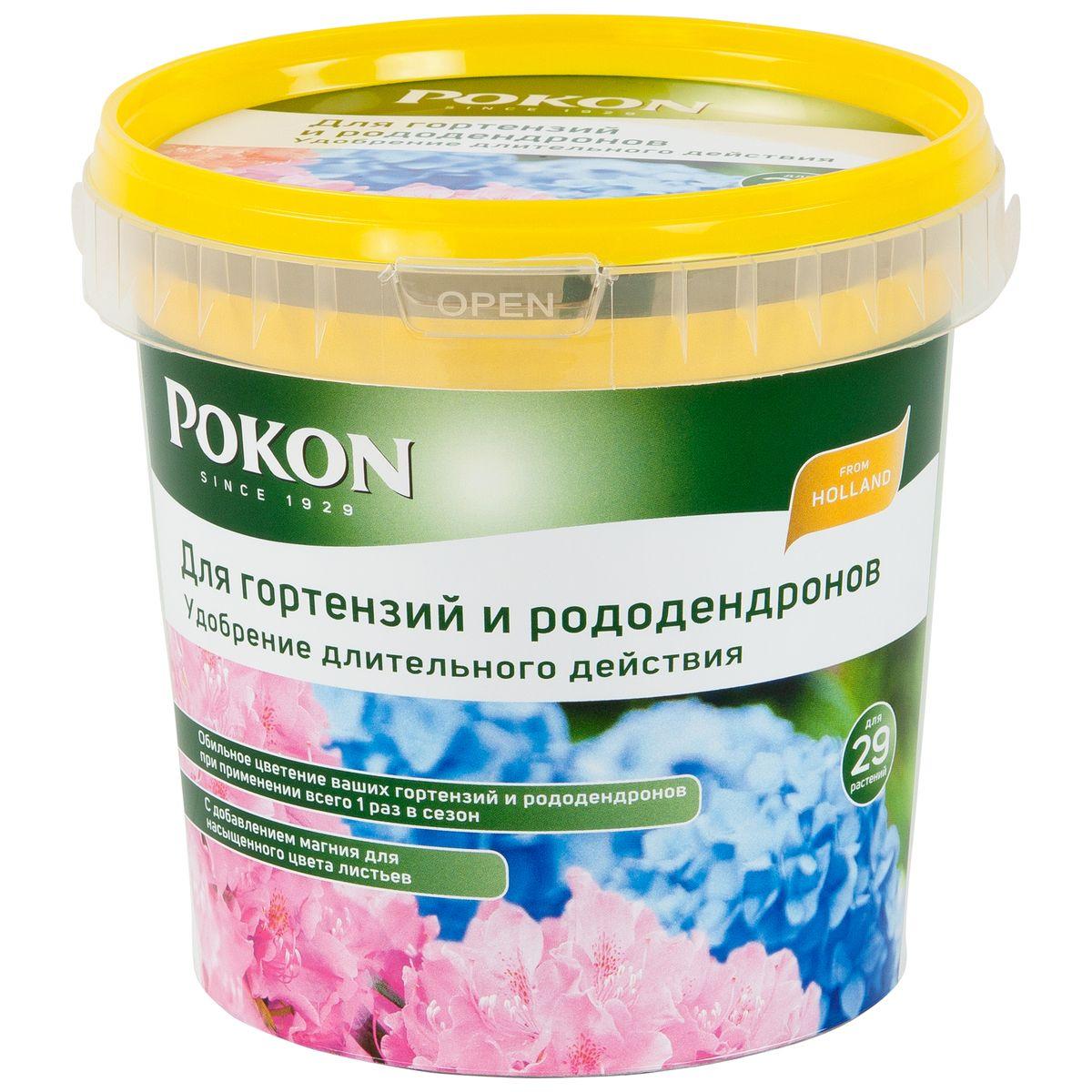 Удобрение Pokon для гортензий и рододендронов длительного действия, 900 г8711969016132Удобрение Pokon для гортензий и рододендронов длительного действия:NPK 19 + 5 + 23 с добавкой 2 MgO + 12 SO3.Это удобрение содержит все необходимое для обильного и частого цветения гортензий и рододендронов. Достаточно внести его один раз, и затем питательные вещества будут постепенно высвобождаться и проникать в растения в течение сезона под воздействием дождей и солнца. Магниевая добавка придает гортензиям и рододендронам яркую и насыщенную окраску.Инструкция по применению:- Вносите удобрение 1 раз в год, желательно весной или при посадке растений.- Отмерьте нужное количество гранул в соответствии с прилагаемой таблицей.- Равномерно насыпьте гранулы вокруг стеблей.- Смешайте гранулы с верхним слоем грунта.- Полейте грунт, и удобрение немедленно начнет действовать.- Не используйте при температуре выше +25 градусов и под прямыми солнечными лучами.Состав:19% — общее содержание азота (N);5,4% — нитратный азот;2,2% — аммонийный азот;11,4% — мочевинный азот;5% — безводная фосфорная кислота (P2O5), растворимая в нейтральном цитрате аммония и воде; 23% — водорастворимый оксид калия (K2O);2% — полный оксид магния (MgO);12,1% — трехокись серы (SO3);0,006% — медь (Cu);0,03% — железо (Fe);0,01% — марганец (Mn);0,001% — молибден (Mo);0,06% — цинк (Zn).Удобрение соответствует нормам ЕС.