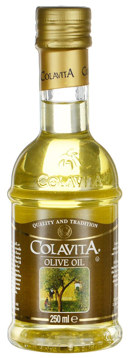 Colavita масло оливковое рафинированное, 250 мл0120710Оливковое масло Colavita - это высококачественное рафинированное масло, полученное из лучших сортов итальянских оливок с добавлением нерафинированного масла первого холодного отжима. Масло одинаково хорошо подходит для заправки салатов, приготовления пищи на сковороде и на гриле, а также для выпечки. Тонкий вкус и низкая калорийность делают это масло отличным выбором для приготовления маринадов, соусов, супов, заправок.