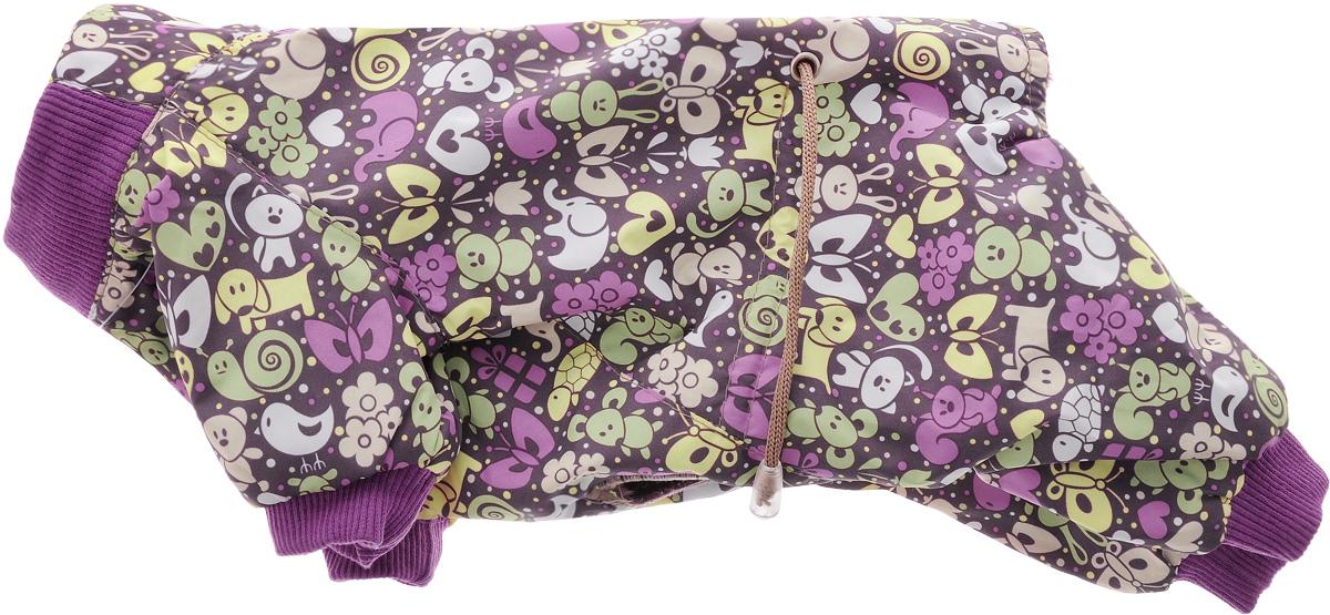 Комбинезон для собак Yoriki Звери, для мальчика, цвет: фиолетовый. Размер SDM-160102-4_оранжКомбинезон для собак Yoriki Звери отлично подойдет для прогулок в прохладную погоду осенью или весной. Верх комбинезона выполнен из водоотталкивающего полиэстера. Подкладка изготовлена из мягкой вискозы. Низ рукавов и брючин оснащен широкими стильными манжетами. Застегивается комбинезон на спинке на кнопки и дополнительно на пояснице затягивается шнурком. Благодаря такому комбинезону вашему питомцу будет комфортно наслаждаться прогулкой.Длина по спинке: 20 см. Обхват шеи: 24 см.