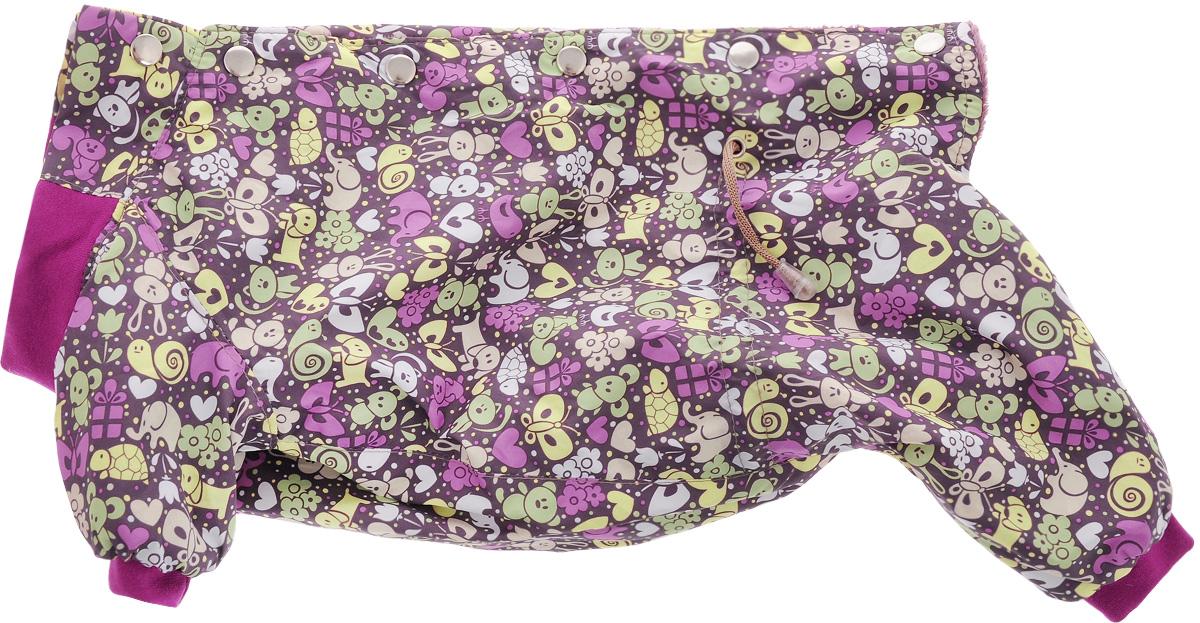 Комбинезон для собак Yoriki Звери, для девочки, цвет: фиолетовый, розовый. Размер XL0120710Комбинезон для собак Yoriki Звери отлично подойдет для прогулок в прохладную погоду осенью или весной. Верх комбинезона выполнен из водоотталкивающего полиэстера. Подкладка изготовлена из мягкой вискозы. Низ рукавов и брючин оснащен широкими стильными манжетами. Застегивается комбинезон на спинке на кнопки и дополнительно на пояснице затягивается шнурком. Благодаря такому комбинезону вашему питомцу будет комфортно наслаждаться прогулкой.Длина по спинке: 32 см. Обхват шеи: 34 см.