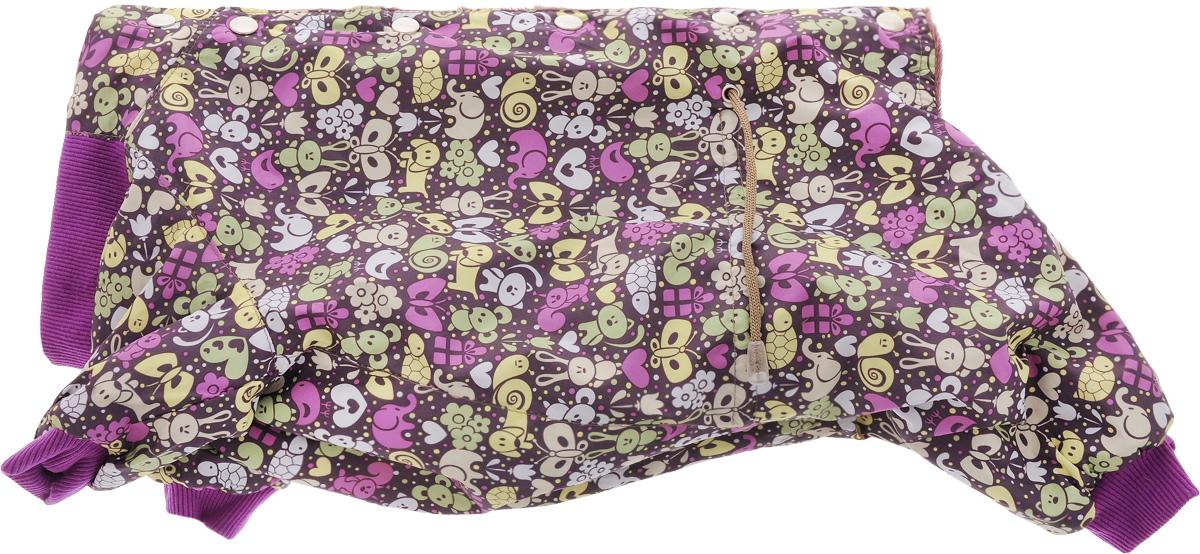 Комбинезон для собак Yoriki Звери, для мальчика, цвет: фиолетовый. Размер XL0120710Комбинезон для собак Yoriki Звери отлично подойдет для прогулок в прохладную погоду осенью или весной. Верх комбинезона выполнен из водоотталкивающего полиэстера. Подкладка изготовлена из мягкой вискозы. Низ рукавов и брючин оснащен широкими стильными манжетами. Застегивается комбинезон на спинке на кнопки и дополнительно на пояснице затягивается шнурком. Благодаря такому комбинезону вашему питомцу будет комфортно наслаждаться прогулкой.Длина по спинке: 32 см. Обхват шеи: 34 см.