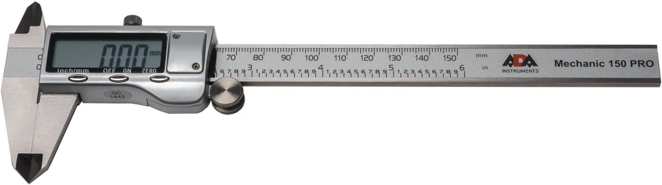 Штангенциркуль цифровой ADA Mechanic 150 PRO98295719Цифровой штангенциркуль ADA Mechanic 150 Pro используется для проведения как наружных, так и внутренних измерений различных изделий или заготовок. Измерения производятся с высокой точностью ±0.03 мм. Результаты отображаются на ЖК дисплее с точностью до тысячных. Нажатием кнопки можно перевести миллиметры в дюймы. Результаты измерения отражаются на ЖК экране крупными цифрами.В любом положении подвижной рамки можно обнулить значение и начать измерения от этого положения. Например при определении разницы между диаметрами двух деталей.Включение штангенциркуля происходит автоматически при сдвиге рамки. Подвижная рамка имеет специальное колесико для точной установки и винтовой фиксатор.ADA Mechanic 150 Pro полностью изготовлен из нержавеющей стали.Цифровой штангенциркуль ADA Mechanic 150 Proточный и качественный ручной измерительный инструмент.Длина измерения: 0-150 ммРазрешение: 0.01ммТочность: ±0.03 ммПитание: 1х SR44
