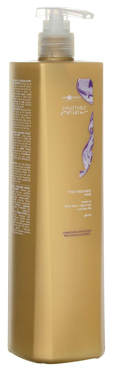Hair Company Маска стабилизирующая Professional Inimitable Color Post Treatment Mask 1000 млFS-00897INIMITABLE Color Post Treatment Mask. Предназначена для восстановления структуры волос, которые повреждены в результате химического воздействия, осветления, окрашивания и выпрямления. Средство обладает мягким рН = 3,5, который способствует полному восстановлению поврежденных окрашенных волос. Экстракты белого жемчуга и шелка, УФ-фильтры и витамин F, входящие в состав средства питают, оздоравливают и укрепляют волосы. Аминокислоты средства обогащают волосы и предотвращают окислительные процессы. В результате применения маски Hair Company Inimitable color post treatment mask делают волосы шелковистыми, блестящими и послушными, волосы защищены от вымывания и выгорания. Возобновляется здоровый гидробаланс волос и кожи головы, приглаживается кутикула. Волосы возвращают свою упругость и силу.