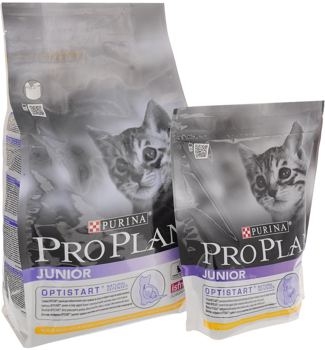 Корм сухой Pro Plan Junior Optistart для котят, с курицей, 1,5 кг + Корм сухой Pro Plan Junior Optistart для котят, с курицей, 400 г0120710Сухой корм Pro Plan Junior Optistart - это полноценный рацион для котят от 6 недель до 1 года. Он содержит особую разработанную с участием ученых комбинацию ингредиентов для поддержания здоровья вашего питомца в течение продолжительного времени. Особенности сухого корма: укрепляет здоровье кишечника котят и уменьшает риск расстройств пищеварения,усиливает иммунную систему благодаря молозиву, богатому антителами,поддерживает здоровый рост костей и мускулатуры,помогает поддерживать здоровое развитие мозга и зрения.Анализ: белок 40%, жир 20%, сырая зола 6,5%, сырая клетчатка 0,5%.Добавки на кг: витамин А 36 400, витамин D3 1180, витамин Е 750 мг/кг, железо 335, йод 4, медь 68, марганец 160, цинк: 570, селен 0,38 мг/кг.Товар сертифицирован.