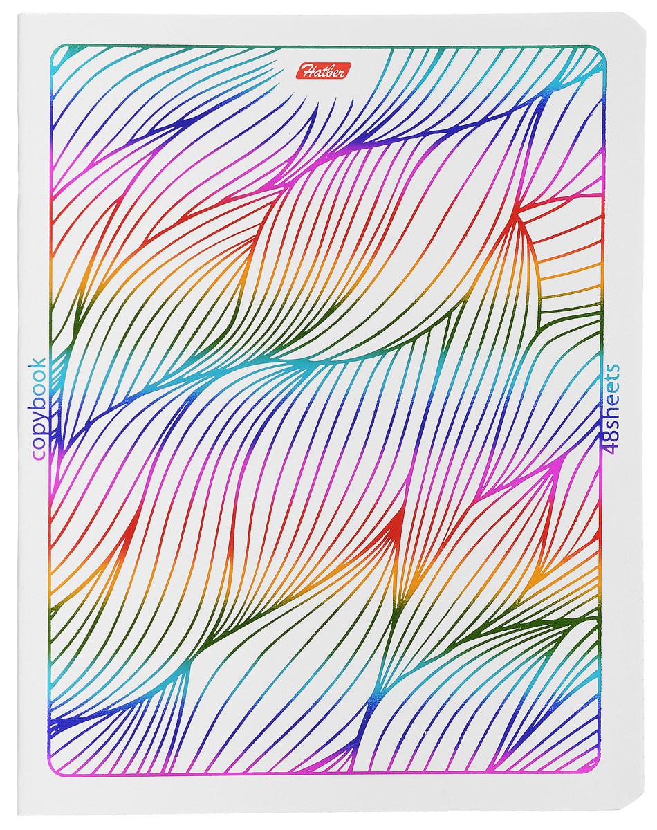 Hatber Тетрадь Rainbow 48 листов в клетку 1453272523WDТетрадь Hatber Rainbow отлично подойдет для занятий школьнику, студенту или для различных записей.Обложка, выполненная из плотного картона, украшена тиснением фольгой. Игра разноцветных металлизированных переливов в сочетании с оригинальными узорами дарит тетрадке магический эффект.Внутренний блок тетради, соединенный двумя металлическими скрепками, состоит из 48 листов белой бумаги в голубую клетку с полями.