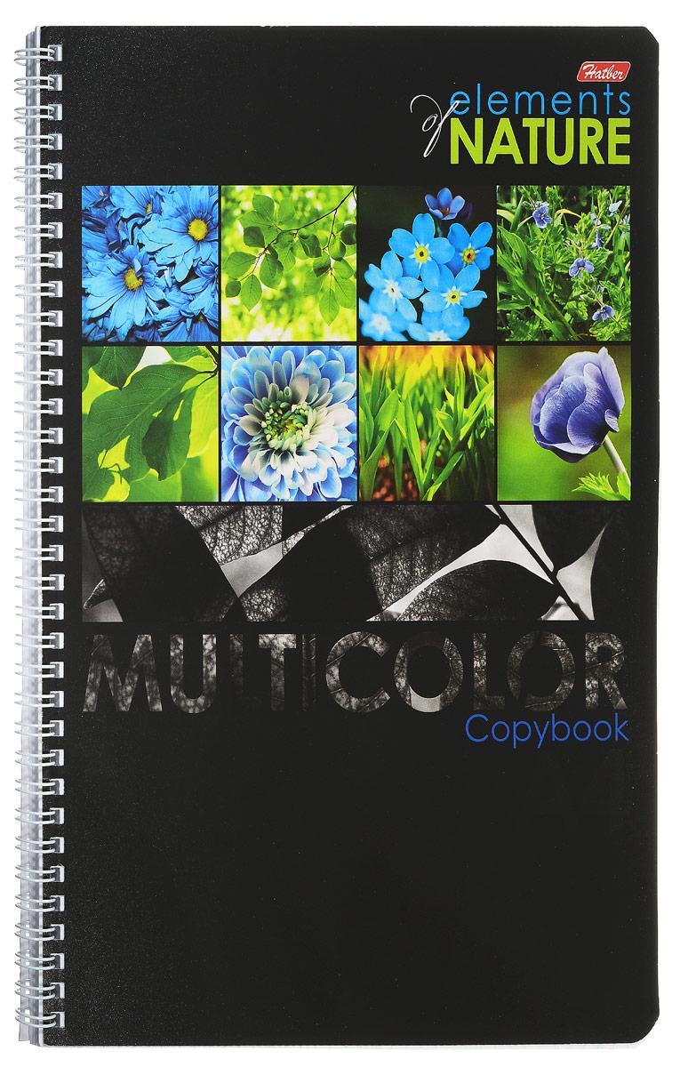 Hatber Тетрадь Multicolor 96 листов в клетку цвет голубой формат А496Т4вмВ1гр_голубыеТетрадь Hatber Multicolor предназначена для объемных записей и незаменима для старшеклассников и студентов.Обложка тетради с закругленными углами выполнена из картона, что позволит сохранить тетрадь в аккуратном состоянии на протяжении всего времени использования. Обложка украшена красочными изображениями растений. Внутренний блок тетради на гребне состоит из 96 листов белой бумаги с линовкой в клетку синего цвета без полей. Все листы блока являются отрывными и снабжены микроперфорацией, а также стандартными отверстиями для подшивки в папки с кольцевым механизмом.Формат тетради А4.