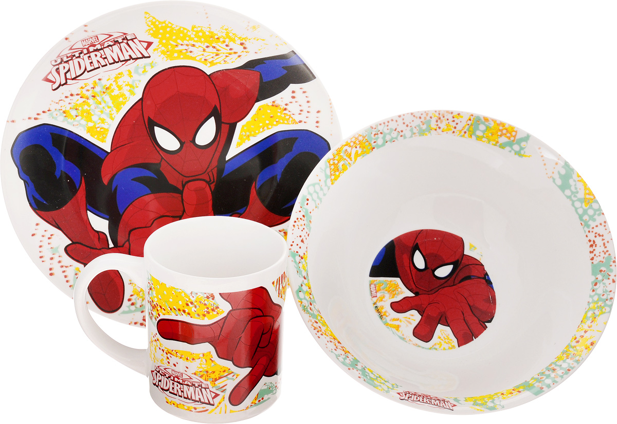 Набор детской посуды Disney Spider-Man, 3 предмета115010Набор детской посуды Disney Spider-Man, выполненный из высококачественной керамики, состоит из кружки, тарелки и миски. Предметы набора оформлены изображением героя популярного мультфильма Spider-Man. Такая посуда привлечет внимание вашего малыша. Привычная еда станет более вкусной и приятной, если процесс кормления сопровождать игрой и сказками о любимых героях. Красочная посуда является залогом хорошего настроения и аппетита ваших детей. Можно мыть в посудомоечной машине и использовать в микроволновой печи. Диаметр тарелки (по верхнему краю): 19 см. Высота тарелки: 2 см.Диаметр миски (по верхнему краю): 17,5 см. Высота миски: 6 см. Объем кружки: 210 мл. Диаметр кружки (по верхнему краю): 7,2 см. Высота кружки: 8,5 см.