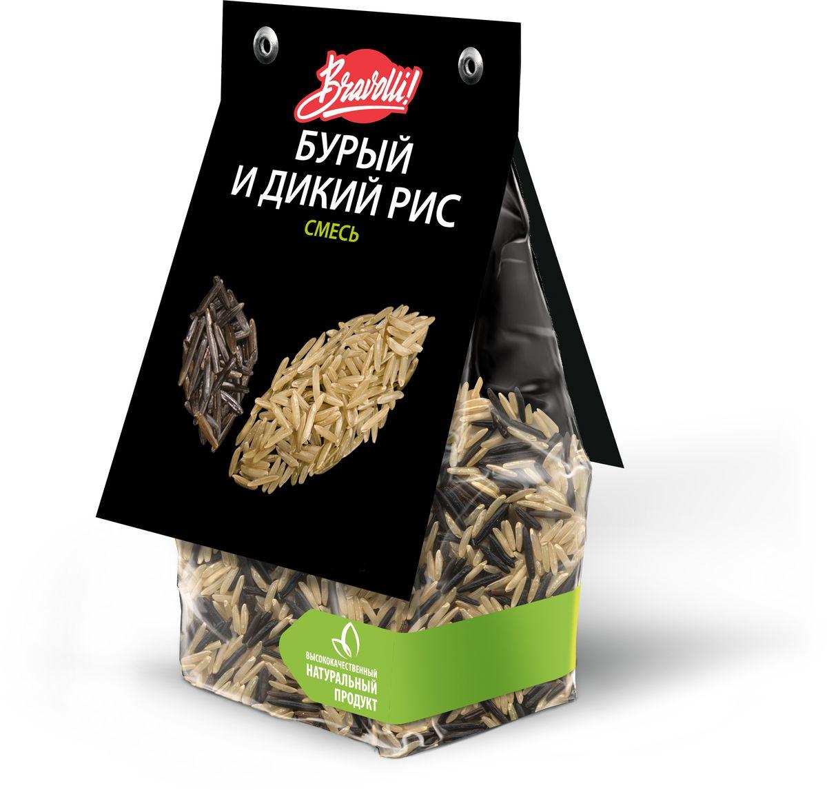 Bravolli Смесь бурый и дикий рис, 350 гБР 67/6Дикий рис Bravolli прекрасно сочетается с нешлифованным бурым рисом, создавая гармоничную смесь вкуса и полезности. Дикий рис - особый вид риса с необычным внешним видом и вкусом, выращиваемый в Северной Америке. Он обладает высокой пищевой ценностью. Бурый рис - нешлифованный, поэтому в нем сохранен максимум витаминов и полезных веществ и на вкус он более упругий по сравнению с обычным белым рисом. Смесь понравится тем, кто ведет здоровый образ жизни и стремится сохранить молодость и стройность. Смесь проста в применении - она остается рассыпчатой, даже если ее немного переварить. Идеально подходит для приготовления гарниров, салатов.