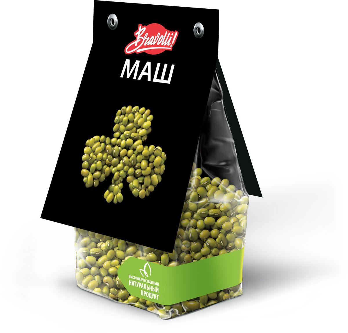 Bravolli Маш, 350 г24Маш – бобовая культура, близкая родственница фасоли, но в отличие от нее, маш можно проращивать. Маш возделывается в Средней и Восточной Азии, Южной Америке. Особенно популярен он в азиатской кухне. В Корее употребляют в пищу ростки маша, в Японии едят сброженный маш, а в Индии его часто используют в шлифованном виде (без оболочки). Маш имеет нежный травянистый вкус с легким ореховым ароматом. Он используется для приготовления супов, мясных блюд и блюд с рисом. Ростки можно использовать как в чистом виде, так и в салаты.