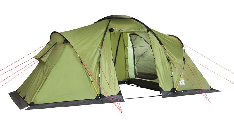 Палатка KSL Macon 4KOCAc6009LEDВместительная кемпинговая палатка MACON 4 с двумя просторными спальнями - отличный выбор для туристов, предпочитающих путешествовать большой компанией. Палатку можно использовать как для отдыха выходного дня, так и для длительных походов в период отпуска. Кемпинговая палатка MACON 4 рассчитана на группу туристов в четыре человека. В каждой из ее спален могут комфортно разместиться двое туристов. Главная особенность этой палатки - огромный тамбур, позволяющий оставить в нем нагруженные рюкзаки либо разместить обеденный стол, за которым можно с комфортом пообедать, скрываясь от полуденного солнца. Внутренняя палатка удобно закрывается, благодаря чему спящих туристов не потревожит ветер. Прозрачная вставка, встроенная в прочную тентовую ткань из полиэстера, позволяет проникать во внутреннее пространство солнечному свету. Прочные стальные дуги - важный элемент каркаса палатки MACON 4, благодаря которому ткань не сворачивается и не провисает даже во время ветра. Еще одно достоинство модели - крепкое и прочное дно, защищающее внутреннее пространство палатки от проникновения влаги даже во время летнего проливного дождя. Вес- 12.1 кг. Кол-во мест- 4. Сезонность - лето. Размер- 470х240х190 см. Размер в чехле - 28x64 см. Материал тента - Polyester 190T PU 2500 mm. Материал дна- Polyethylene 3000 mm. Внутренняя палатка- есть. Материал дуг- Fib 11 mm Steel 16mm. Ветроустойчивость- Низкая. Количество входов- 2. Область применения- Кемпинг.Пропитка, задерживающая распространение огня. Швы герметизированы термоусадочной лентой. Нагруженные узлы палатки усилены прочной тканью. Край тента обшит прочной стропой. Цвет: зеленый. Материал: Polyester 190T PU, polyethylene.
