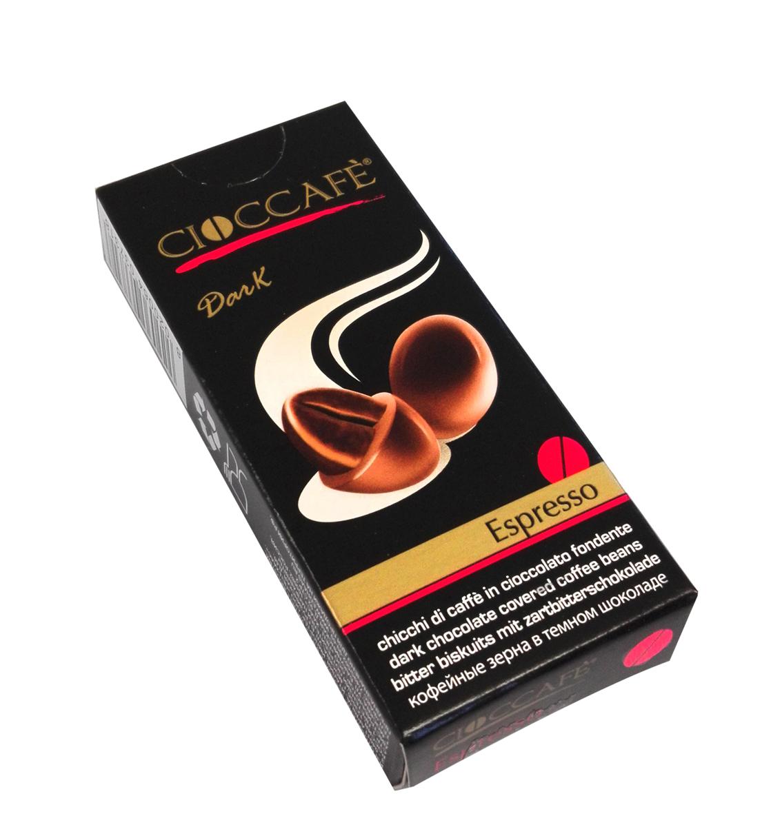 Cioccafe Эспрессо тайм кофейные зерна в темном шоколаде, 25 г45009Драже Cioccafe Эспрессо тайм - обжаренные кофейные зерна, покрытые шоколадом. Такая необычная комбинация ингредиентов выделяет этот продукт среди других товаров.