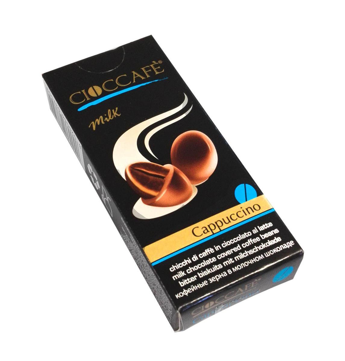 """Cioccafe Капучино кофейные зерна в молочном шоколаде, 25 г5060295130016Драже """"Cioccafe"""" - обжаренные кофейные зерна, покрытые шоколадом. Необычная комбинация кофейных зерен и шоколада выделяет этот продукт среди других товаров."""