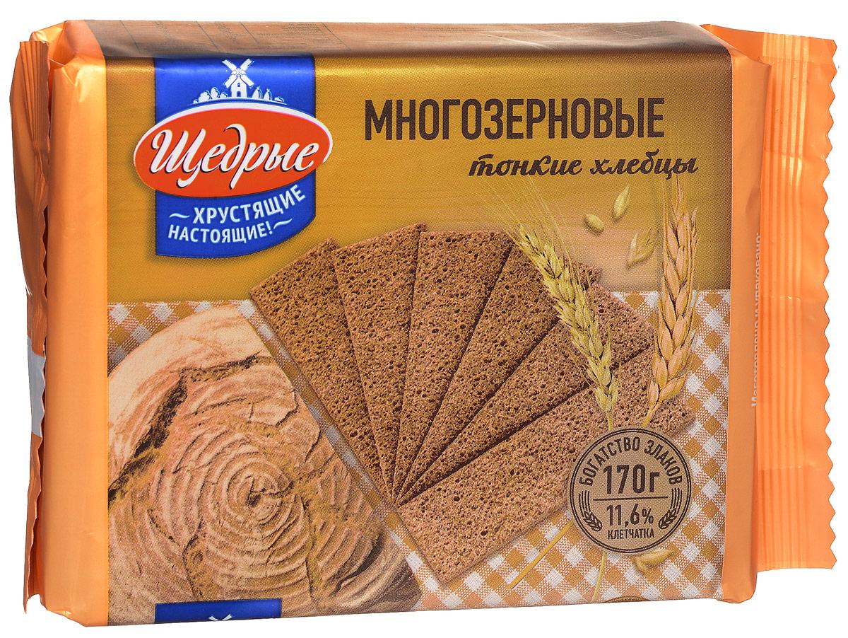 Щедрые хлебцы тонкие многозерновые, 170 г0120710Хрустящие многозерновые тонкие хлебцы не только вкусные, но и полезные. Они содержат большое количество клетчатки (11,6%), а также витамины и минералы. 100% натуральный продукт, без консервантов, красителей и искусственных добавок. Отличная замена хлебобулочным изделиям, а также хороший диетический продукт.