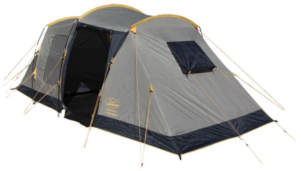 Палатка Campus Bordeaux 6, цвет: бежевый, графитовый, желтый10500025Современная и практичная палатка с неповторимым дизайном.Высокая в тамбуре, огромная кемпинговая палатка, Большой тамбур, в котором можно стоять в полный рост.Подвесные спальни, пространство для вещей, простота установки и устойчивая конструкция - вот основные преимущества данной модели.Материал дна: полиэтилен.Материал тента: Weather Weave 3000 Plus (Polyester 190T).Материал внутренней палатки: дышащий полиэстер.Москитные сетки: есть.Внутренняя палатка: есть.Тип каркаса: внешний.Герметизация швов: проклеенные.Размеры внешней палатки (тента) (ДхШхВ): 630 х 230 х 210 см.Размеры внутренней палатки (ДхШхВ): (200 х 230 х 210) см х 2