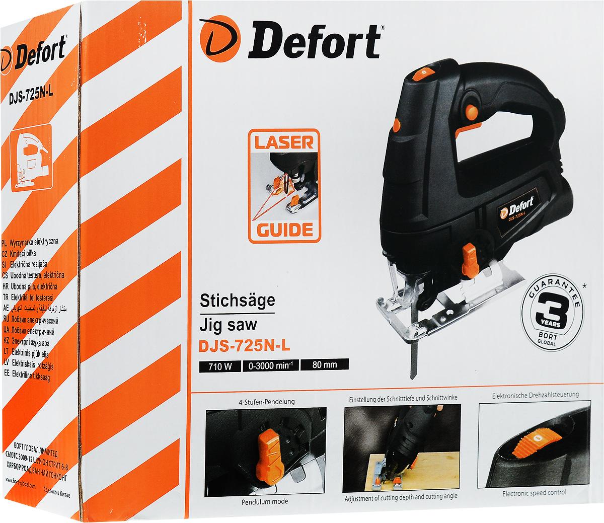 Лобзик электрический Defort DJS-725N-L, цвет: черный, оранжевый10000000172Defort DJS-725N-L - это отличный инструмент для прямых, наклонных и фигурных резов в быту и на даче. Мощность двигателя 710 Вт – как и у многих профессиональных лобзиков, этой мощности вполне достаточно для основных работ. Недорогой, но в тоже время довольно функциональный лобзик. Имеются присущие профессиональным моделям регулировка скорости, маятниковый режим и даже лазерная направляющая. Если скорость работы нужно ускорить, а точность и чистота пропила не важна, то пригодится маятниковый режим. С его помощью можно значительно сократить время распила. Для более точного позиционирования лобзика на поверхности служит лазерный прицел.