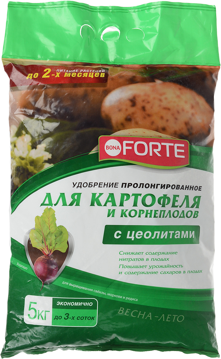 Удобрение пролонгированное Bona Forte, для картофеля и корнеплодов, с цеолитом, 5 кгRSP-202SПролонгированное удобрение Bona Forte идеально подходит для картофеля, моркови, свеклы, редиса, репы и других корнеплодов. Снижает содержание нитратов в плодах, повышает урожайность и содержание сахаров в плодах. Удобрение дополнительно обогащено цеолитом, который имеет уникальные полезные качества:- Удерживает влагу и питательные вещества в корнеобитаемой зоне растений;- Снижает стрессы растений при посадке и пересадке;- Обеспечивает оптимальный воздушный режим даже при максимальном насыщении грунта водой;- Делает удобрения пролонгированными.Массовая доля питательных веществ, %: N - 3; P2O5 - 4; К2О - 4,5; MgО - 1.Область применения агрохимиката: для личных подсобных хозяйств. Группа агрохимиката по химической природе: удобрение минеральное смешанное. Состав: удобрение смешанное (тукосмесь). Товар сертифицирован.