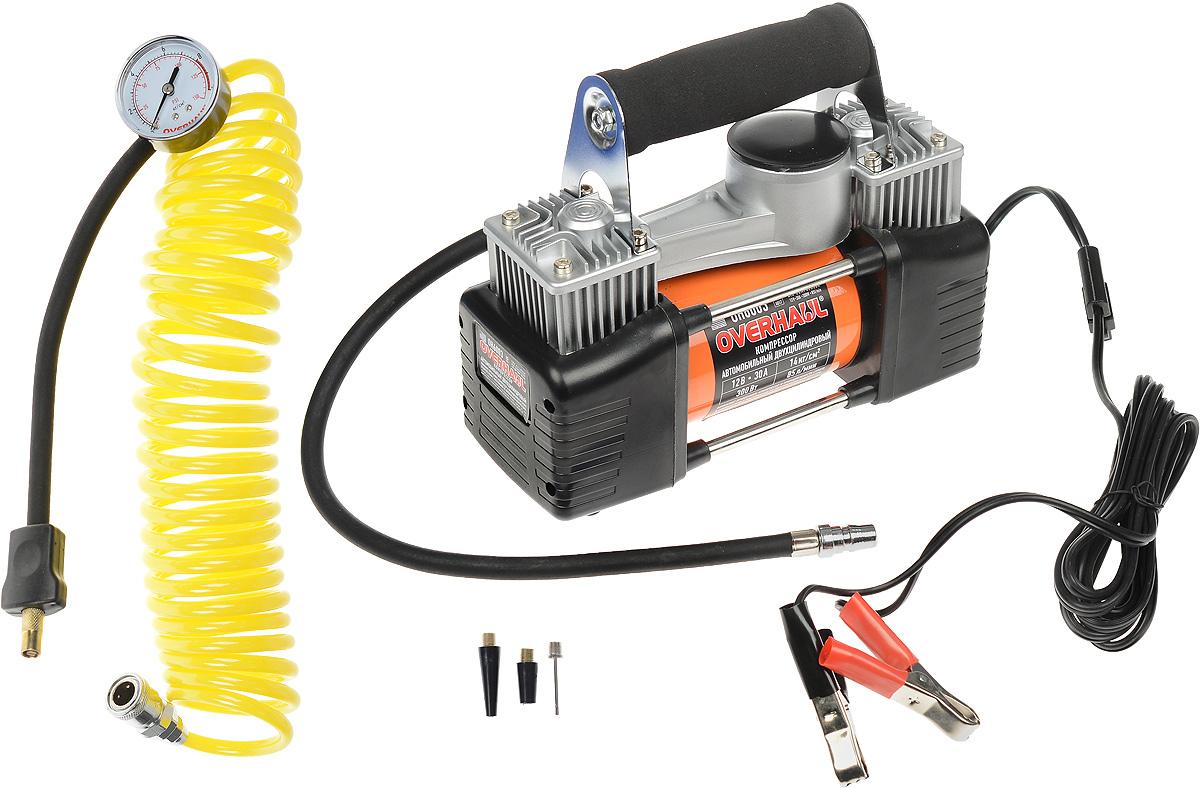 Компрессор автомобильный Overhaul, двухцилиндровый. OH 6003SP810ЕРАвтомобильный компрессор Overhaul повышенной мощности позволит накачать колесо любого размера и надувной спортинвентарь за максимально короткое время. Цельнометаллический корпус обеспечивает эффективный отвод тепла, что значительно увеличивает продолжительность непрерывной работы. Компрессор оборудован маховиком с противовесом, обеспечивающим снижение вибрации и шума при работе, электромотором с усиленными подшипниками. В комплект входит:- Сумка для хранения компрессора с отделением для аксессуаров. - Кабель питания с зажимами для батареи (3 м).- Комплект универсальных адаптеров. - Витой воздушный шланг с манометром. Производительность: 85 л/мин.