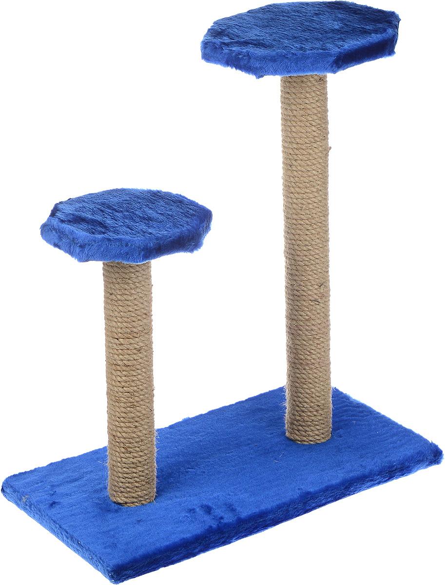 Когтеточка ЗооМарк, на подставке, с полками, цвет: синий, бежевый, 56 х 31 х 64 см16431Когтеточка ЗооМарк поможет сохранить мебель и ковры в доме от когтей вашего любимца, стремящегося удовлетворить свою естественную потребность точить когти. Когтеточка изготовлена из дерева, искусственного меха и джута. Товар продуман в мельчайших деталях и, несомненно, понравится вашей кошке. Имеется две полки.Всем кошкам необходимо стачивать когти. Когтеточка - один из самых необходимых аксессуаров для кошки. Для приучения к когтеточке можно натереть ее сухой валерьянкой или кошачьей мятой. Когтеточка поможет вашему любимцу стачивать когти и при этом не портить вашу мебель.