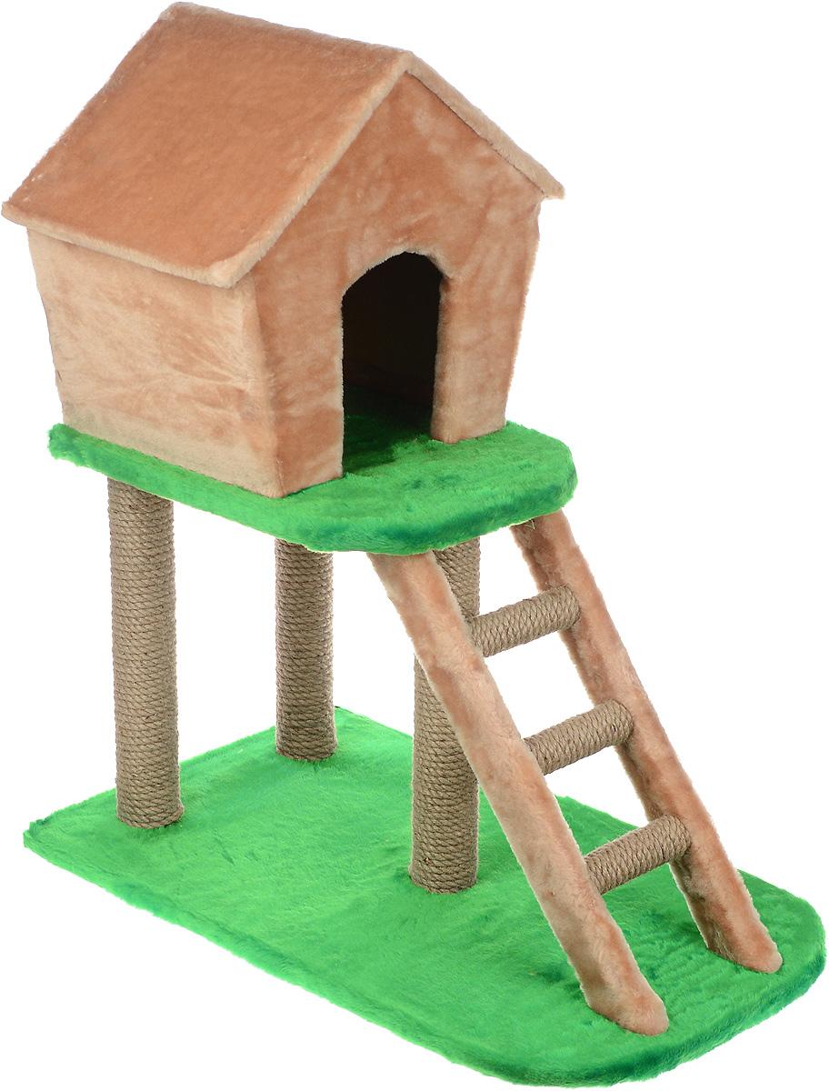 Домик-когтеточка ЗооМарк, с лестницей, цвет: бежевый, зеленый, 75 х 45 х 85 см12171996Домик-когтеточка ЗооМарк выполнен из высококачественного дерева и искусственного меха. Изделие предназначено для кошек. Ваш домашний питомец будет с удовольствием точить когти о специальные столбики, изготовленные из джута. А отдохнуть он сможет в домике на втором этаже, до которого можно добраться по лестнице.Общий размер изделия: 75 х 45 х 85 см.Размер домика: 45 х 33 х 41 см.